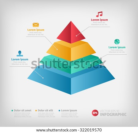 Pyramid info chart graphic for business design. Reports, step presentations in cone shape with icons. - stock vector