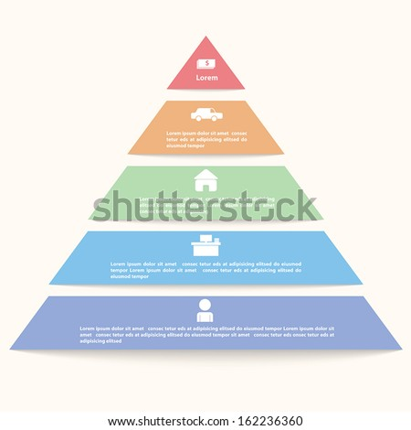Pyramid infographic template, VECTOR, EPS10 - stock vector
