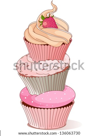 Pyramid of cupcakes elegance design - stock vector
