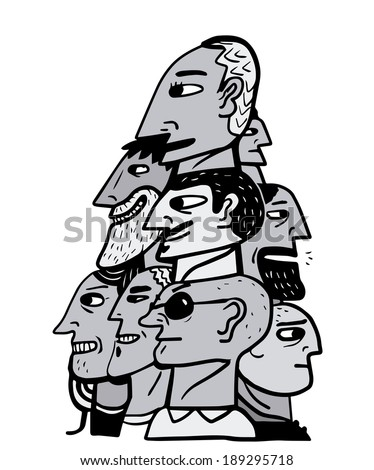 Pyramid of human heads - stock vector
