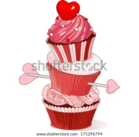 Pyramid of Valentine cupcakes  - stock vector