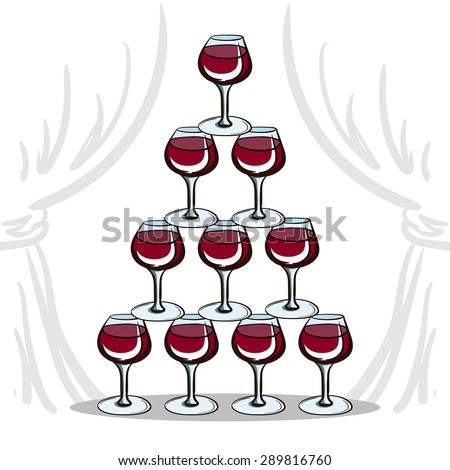 Pyramid of wineglasses with red wine. Vector illustration for your design - stock vector