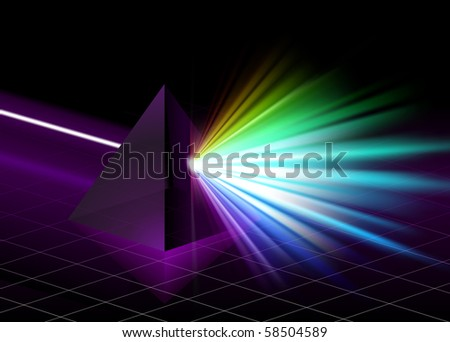 Pyramid on Colorful Spectrum Background Original Illustration