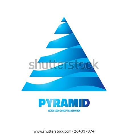 Blue Pyramid Logo Pyramid Vector Logo Concept
