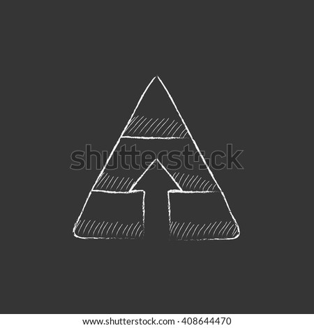 Pyramid with arrow up. Drawn in chalk icon. - stock vector