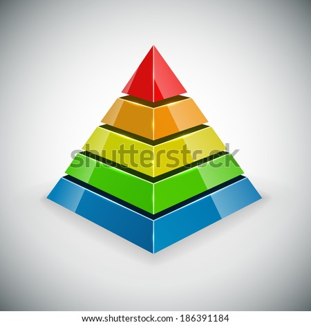 Pyramid with color segments vector design element.  - stock vector