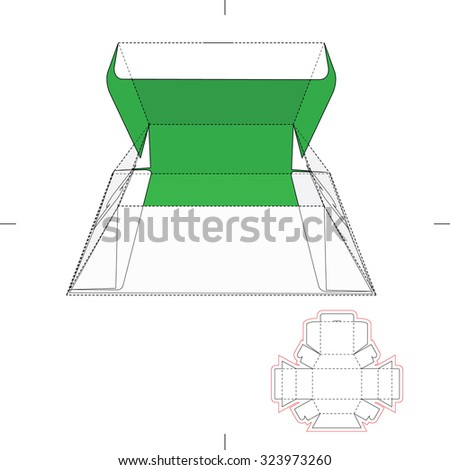 Pyramidal Box with Blueprint Layout  - stock vector