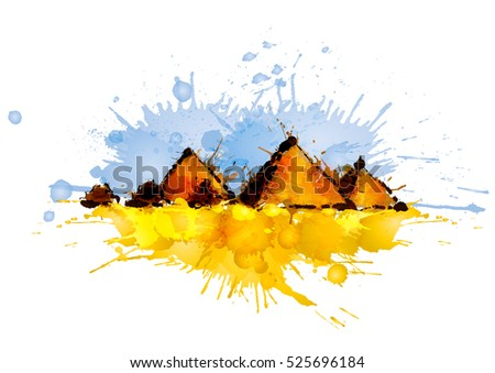 Pyramids in Giza, Egypt made of colorful splashes