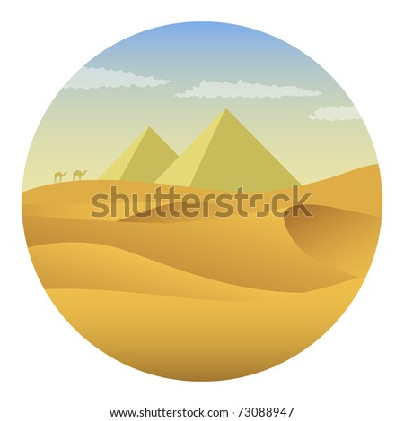 Pyramids in the desert. Vector illustration. - stock vector