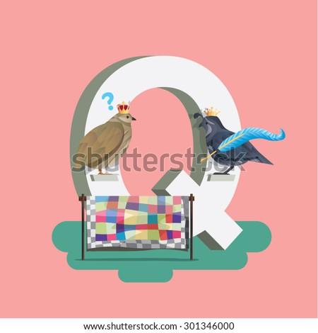 Q - Children learning alphabet education set. Quill, quilt, question mark, queen, quail. - stock vector