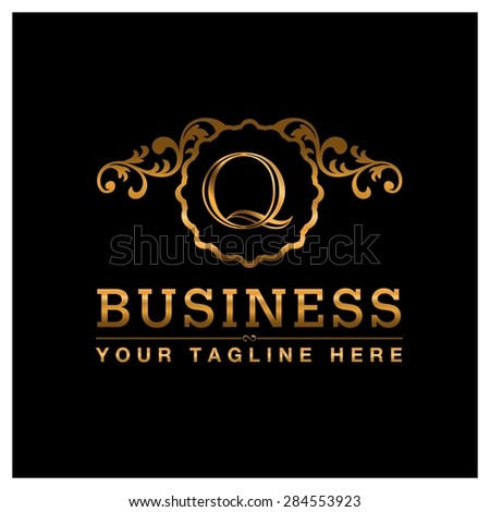 Q letter Gold Luxury Logo template flourishes calligraphic elegant ornament lines. Business sign identity for Restaurant, Royalty, Cafe, Hotel, Heraldic, Jewelry, Fashion and other vector illustration