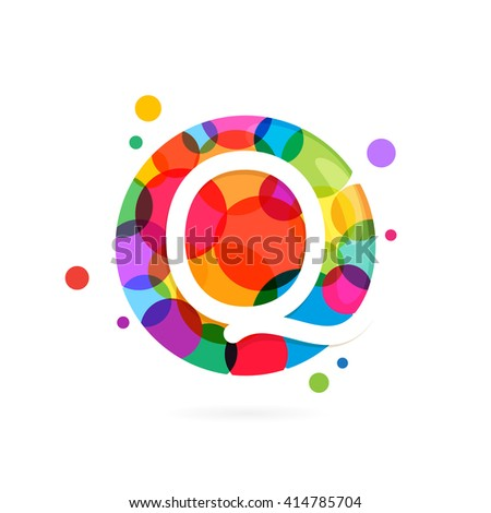 Q letter logo in circle with rainbow dots. Font style, vector design template elements for your application or corporate identity. - stock vector