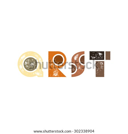 Q R S T - Abstract grunge retro alphabet from simple geometric shapes - Colorful capital letters - Typography and infographic resource - stock vector