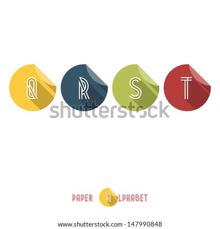 Q R S T -Flat Design Paper Button Alphabet - Vector Illustration - stock vector