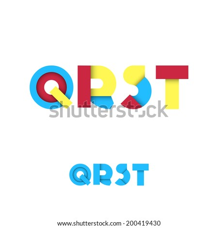 Q R S T Modern Colored Layered Font or Alphabet - Vector Illustration - stock vector