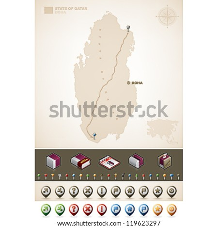 Qatar and Asia maps, plus extra set of isometric icons & cartography symbols set