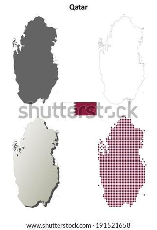 Qatar blank detailed outline map set - vector version - stock vector