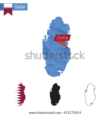 Qatar blue Low Poly map with capital Doha, versions with flag, black and outline. Vector Illustration. - stock vector