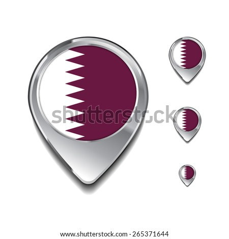 Qatar flag map pointer. 3d Map Pointer with flag glossy button style on gray background - stock vector