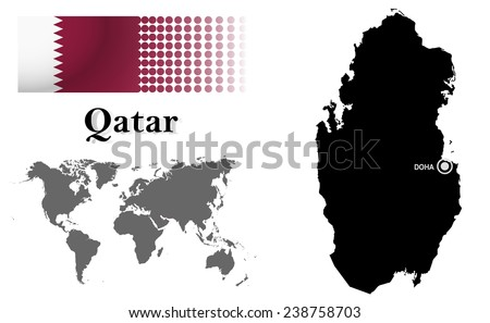 Qatar info graphic flag location world stock vector hd royalty free qatar info graphic with flag location in world map map and the capital sciox Image collections
