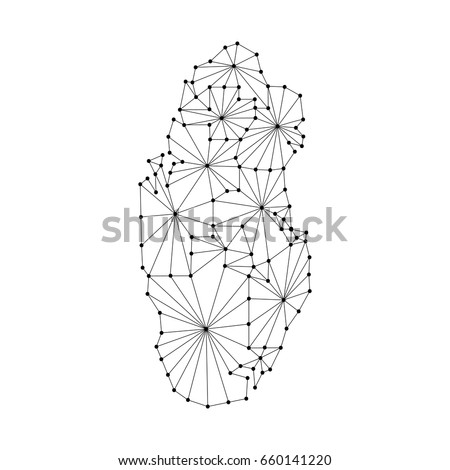 Qatar Map Of Polygonal Mosaic Lines Rays And Dots Vector Illustration