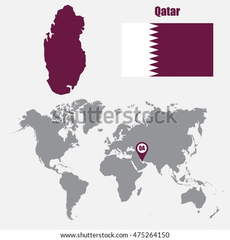Qatar map on world map flag vector de stock475264150 shutterstock qatar map on a world map with flag and map pointer vector illustration gumiabroncs Choice Image