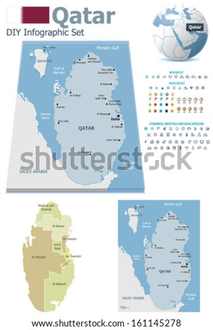 Qatar maps with markers - stock vector