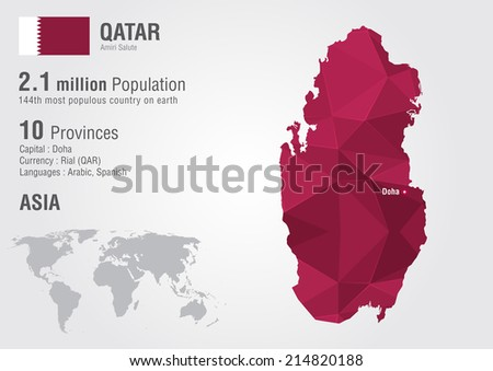 Qatar world map with a pixel diamond texture. World geography. - stock vector