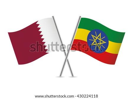 Qatari and Ethiopian flags. Vector illustration. - stock vector
