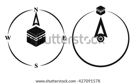 Qibla - muslim prayer direction. Kaaba direction. Mecca. Saudi Arabia. Qibla - Islamic (Arab) term used for the direction for offering a prayer, which is Kaaba in Mecca. Vector isolated illustration. - stock vector