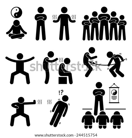 Qigong Qi Energy Power Stick Figure Pictogram Icons - stock vector