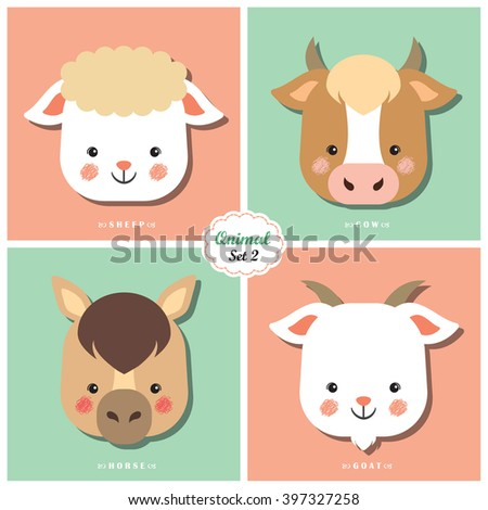 Qnimal means cute animal / Qnimal set 2: Sheep, Cow, Horse and Goat / Set of cartoon animal heads icon. - stock vector