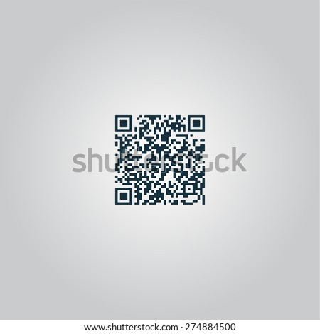 Qr code. Flat web icon or sign isolated on grey background. Collection modern trend concept design style vector illustration symbol - stock vector