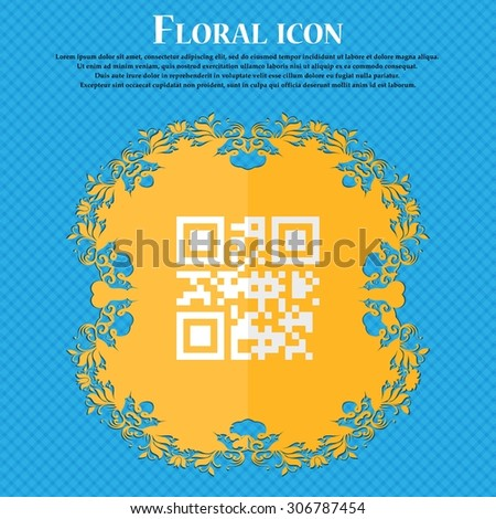 Qr code. Floral flat design on a blue abstract background with place for your text. Vector illustration - stock vector