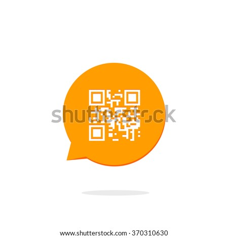 Qr code icon in orange speech bubble, concept of communication technology, flat style modern button design vector illustration isolated on white background - stock vector