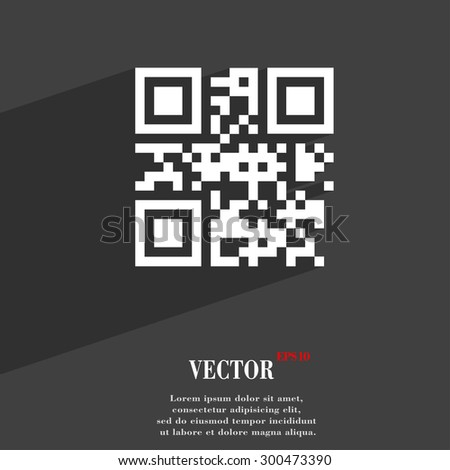 Qr code icon symbol Flat modern web design with long shadow and space for your text. Vector illustration