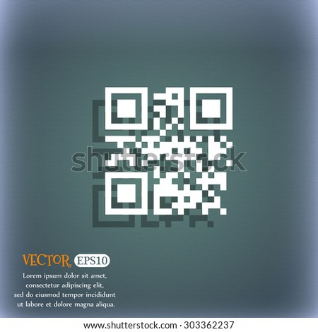 Qr code icon symbol on the blue-green abstract background with shadow and space for your text. Vector illustration