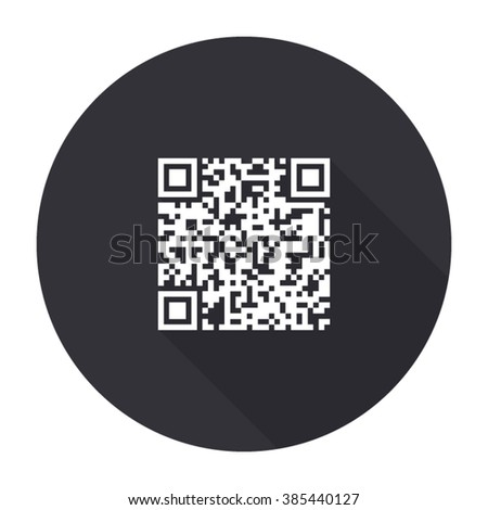 qr code icon with long shadow - vector round button