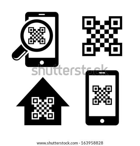 QR code icons set - stock vector