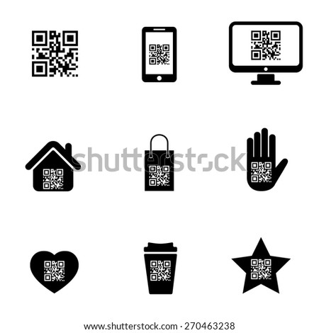 QR code on mobile or cell phone icons set - stock vector