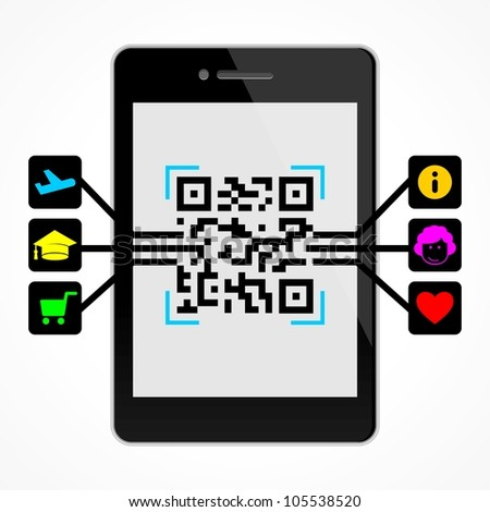 QR code on the smart phone - stock vector
