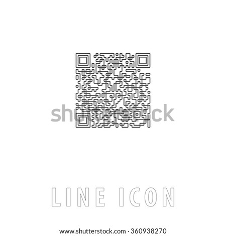 Qr code Outline simple vector icon on white background. Line pictogram with text  - stock vector