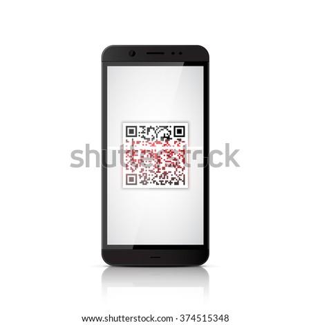 QR code scanning smartphone - stock vector