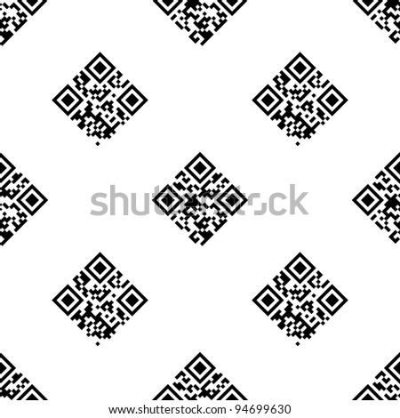 """QR Code seamless pattern with """"Information"""" and """"Data"""" words encoded. - stock vector"""
