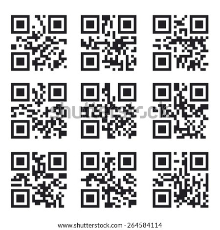 Qr Code Set, Square Product Barcode  Label - stock vector