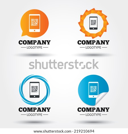 Qr code sign icon. Scan code in smartphone symbol. Coded word - success! Business abstract circle logos. Icon in speech bubble, wreath. Vector - stock vector