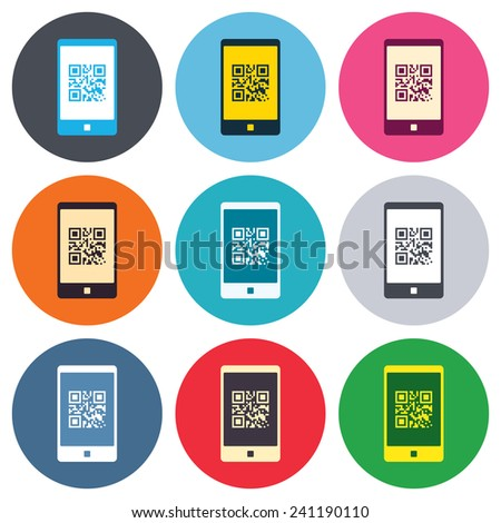 Qr code sign icon. Scan code in smartphone symbol. Coded word - success! Colored round buttons. Flat design circle icons set. Vector - stock vector