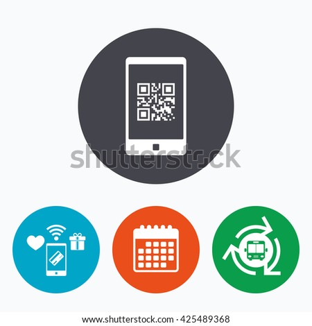 Qr code sign icon. Scan code in smartphone symbol. Coded word - success! Mobile payments, calendar and wifi icons. Bus shuttle. - stock vector