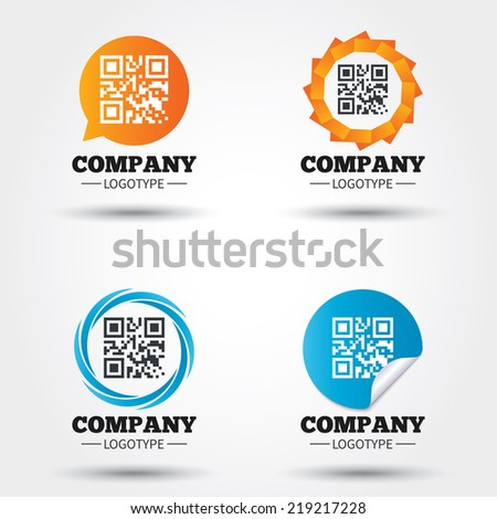 Qr code sign icon. Scan code symbol. Coded word - success! Business abstract circle logos. Icon in speech bubble, wreath. Vector - stock vector