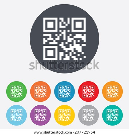 Qr code sign icon. Scan code symbol. Coded word - success! Round colourful 11 buttons. Vector